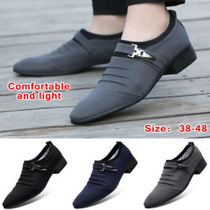 Fashion-Men-039-s-Dress-Business-Shoes-Casual-Pointed-Toe-Canvas-Formal-Office-Work