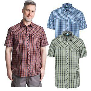 Trespass-Juba-Mens-Short-Sleeved-Checked-Shirt-Casual-Summer-Top