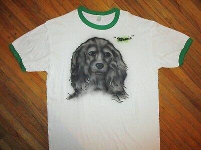 Accurato Vintage 1980s Mamie Suoneria T Shirt Aerografato Famiglia Cane Animale Domestico Belle Arti