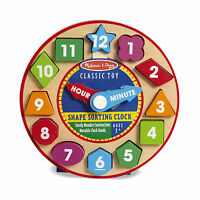 Melissa And Doug Classic Toy Wooden Shape Sorting Clock Kids Fun Learning