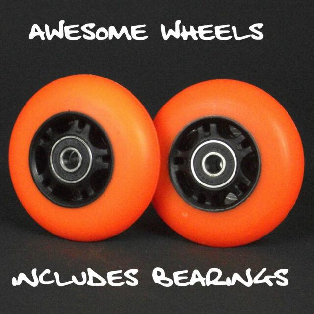 Ripstik Ripstick Skate Wheels x2 76mm Orange PU inc bearings