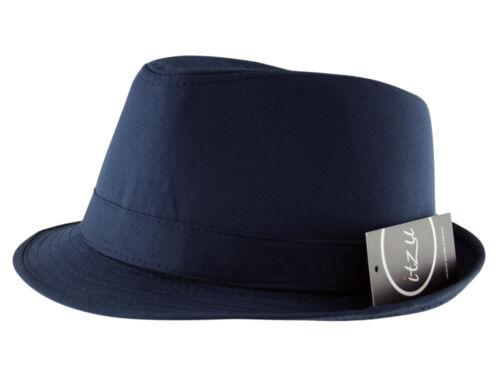 Itzu Men/'s Classic Plain Trilby Fedora Hat Cap Black Navy Brown White
