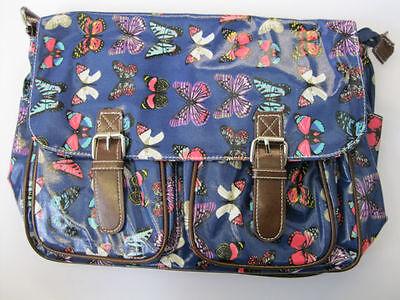 groß Damen Schulranzen blau Schmetterling Aufdruck oder Eulen Umhängetasche