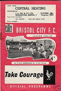BRISTOL-CITY-V-BOURNEMOUTH-3RD-DIVISION-25-4-64-2-POSSIBLE-AUTOGRAPHS