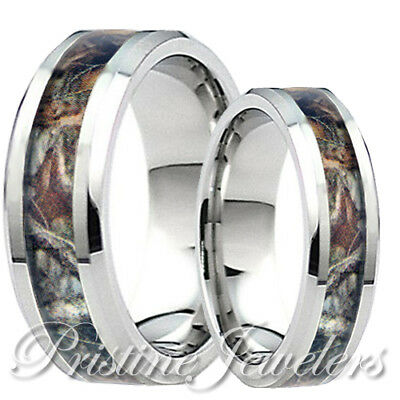 His & Her Titanium Real Oak Forest Camo Ring Mossy Tree Hunting Wedding Band 8mm