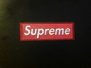 4-5-034-SUPREME-IRON-ON-PATCH-WINE-RED-COLOR-Embroidered-FREE-SHIPPING-USA-SELLER