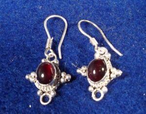 Garnet Earrings In 925 Sterling Silver