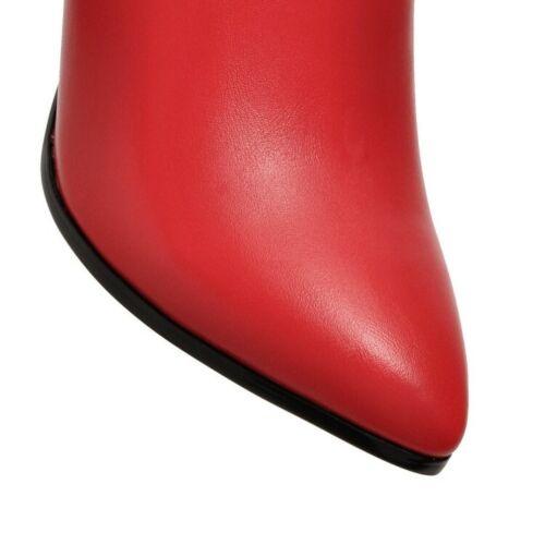3 Farben Nieten Damenstiefeletten Spitz Stilettos Pumps Gr.34/43 Ankle Boots Neu