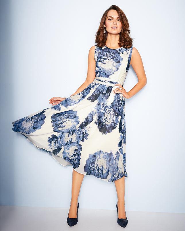 Artigiano Floral Georgette Dress UK Größe 20 TD075 PP 24