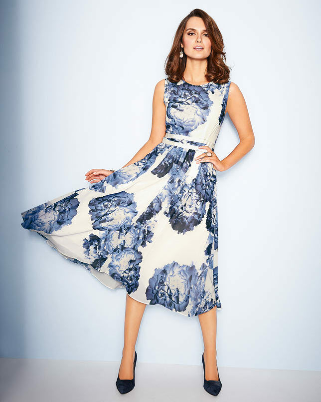 Artigiano Floral Georgette Georgette Georgette Dress UK Größe 20 TD075 PP 24 a21d67