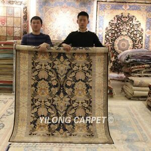 Yilong-4-3-039-x6-6-039-Antique-Handmade-Silk-Rug-Classic-Hand-Knotted-Area-Carpet-C12A