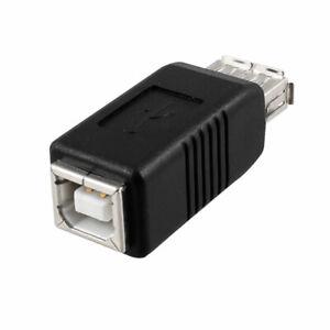 Adaptador USB Impresora Clase A A Tipo B Conector Hembra Negro Plata Tono