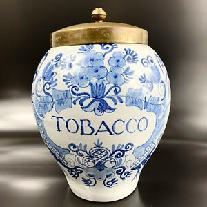 Delft-Tobacco-Humidor-Large-Jar-Royal-Goedewaagen-Blue-Floral-Vintage-Origin