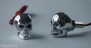 2-tete-de-mort-moto-crane-yeux-rouge-parts-chopper-skull-muffler-bobber-LED-red