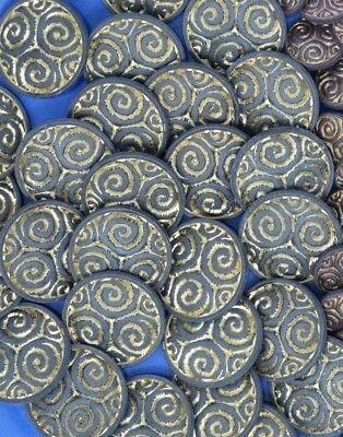Vintage Ornate Shank Buttons Spiral Swirl 25mm Lot of 8 B8-10