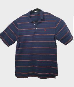 Polo-Golf-Ralph-Lauren-Shirt-Mens-L-Blue-Orange-Striped-Casual-Short-Sleeve