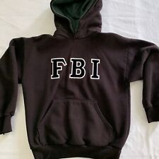 FBI Hoodie Sweatshirt Vintage Black Federal Bureau of Investigations USA Made SM