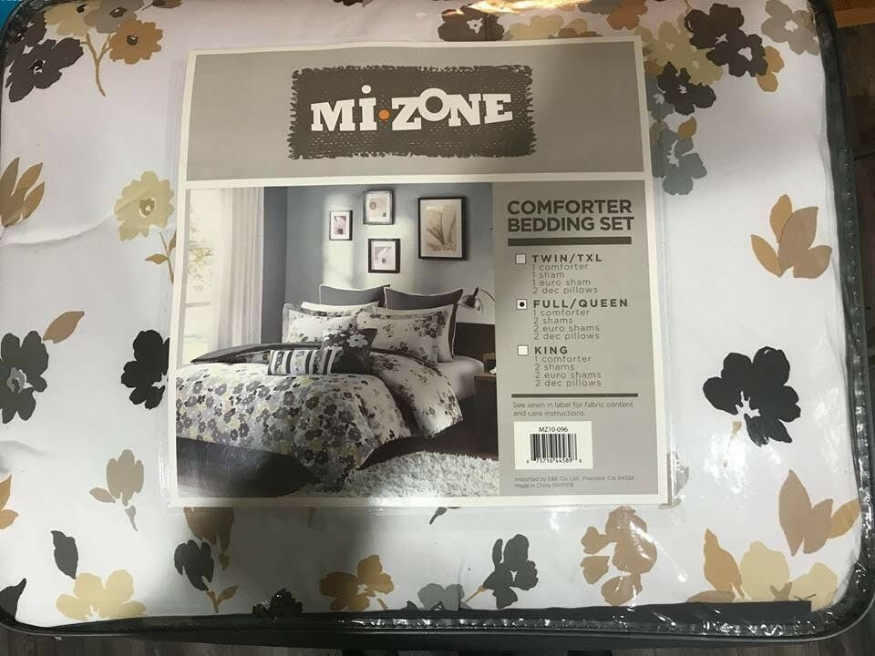 Mi Zone Girls Comforter Set Full Queen grau Weiß Grün- Floral 7 Piece Bedding