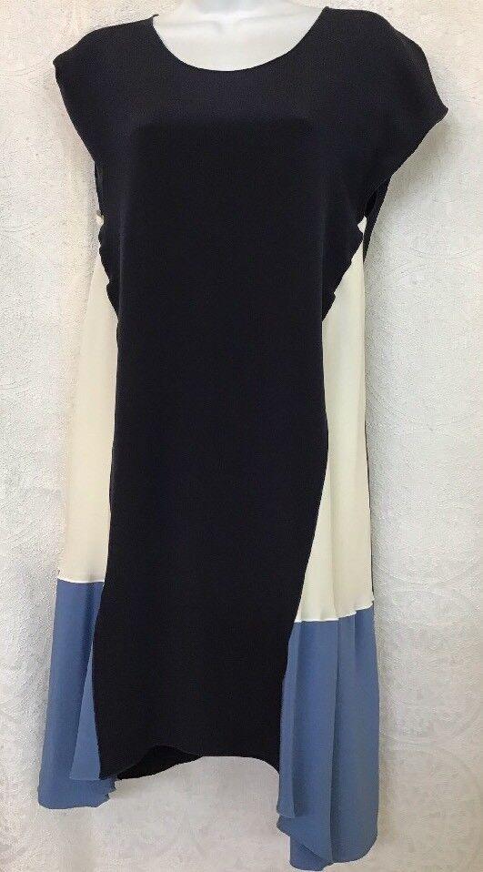 Vestido Corto Derek Lam Manga Casquillo Azul Marino De Seda  Color Crema bloque FLARE Falda Talla 6  primera vez respuesta
