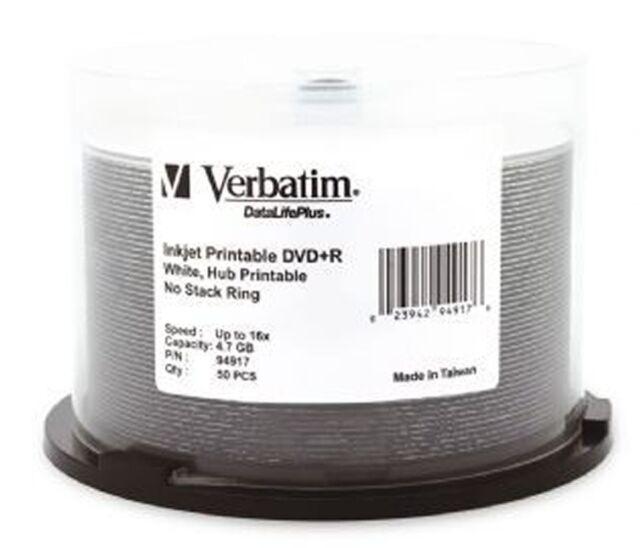 Verbatim DVD+R 4.7GB/16X - 50 Pack Spindle, White Wide Inkjet Printable