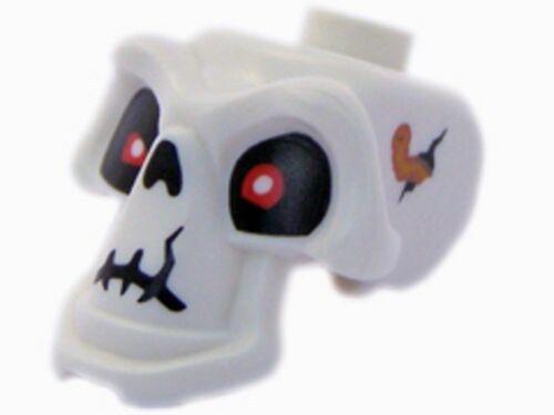 Minifig Cracks /& Worm Pattern White LEGO Head Skeleton Skull w// Red Eyes