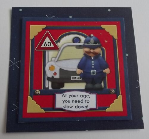 PACK 2 POLICE WARNING 60 BIRTHDAY TOPPER EMBELLISHMENTS FOR CARDS OR CRAFTS