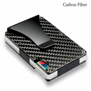 Men Women Carbon Fiber Credit Card Holder RFID Blocking Wallet Money Clip A93