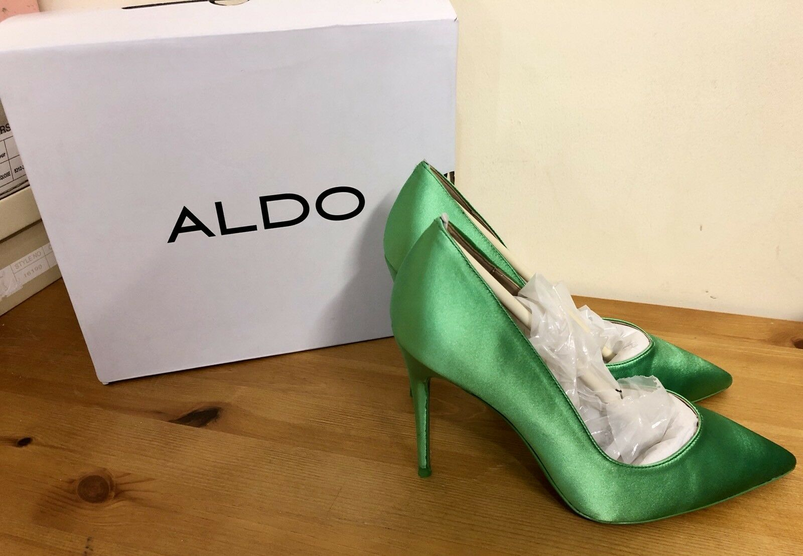 ALDO ALEANI LADIES HIGH HEEL SHOES UK SIZE 5 GREEN NEW BOXED HEELS WOMAN PARTY