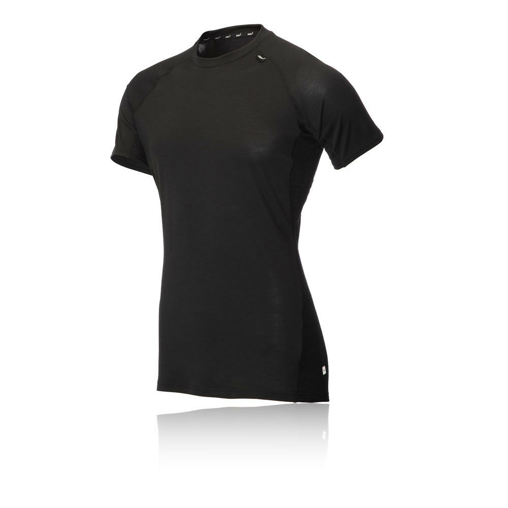 Inov 8 a  c Merino para hombre Negro Mangas Cortas Escote rojoondo Camiseta Camiseta Top Correr  muy popular