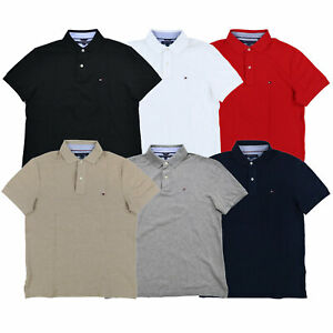 Tommy-Hilfiger-Mens-Polo-Shirt-Custom-Fit-Knit-Mesh-Short-Sleeve-Collared-New