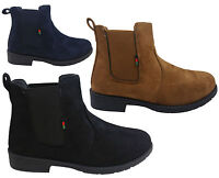 Womens Ladies New Chelsea Chunky Block Heel Grip Sole Winter Ankle Boots Shoes
