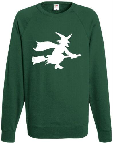 Hexe auf Besen Halloween Sweatshirt Kostüm Pulli Coole Geschenke Top Party