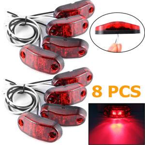 8x-Red-LED-Front-Side-Marker-Lights-Lamp-12V-24V-Truck-Car-Trailers-Indicator