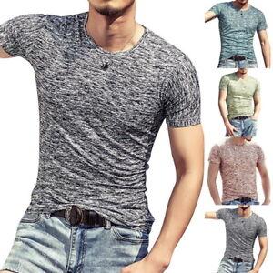 Tee-shirt-de-mode-d-039-ete-pour-hommes-Tops-Tops-Tee-Sport-Fitness-V-cou