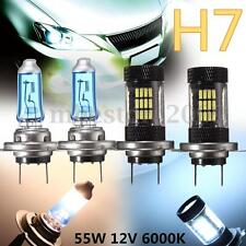 2pcs H7 55W 6000K 57LED Bulbs + 2pcs 100W Halogen Lamps Head Light Super Bright