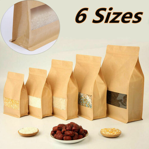 Resealable Kraft Paper Stand Up Bags Zip Lock Bag With Matte Window Food Pouches