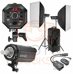 Studio Flash Softbox Lighting Kit 1200w 2 X 600w Strobe