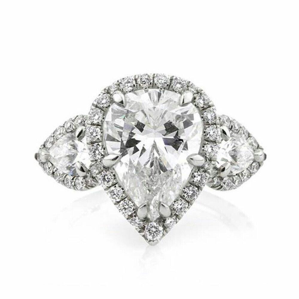 Diamond Wedding Engagement Ring Pear Cut 4.75 Ct 14 K White gold D VVS1 Size 6