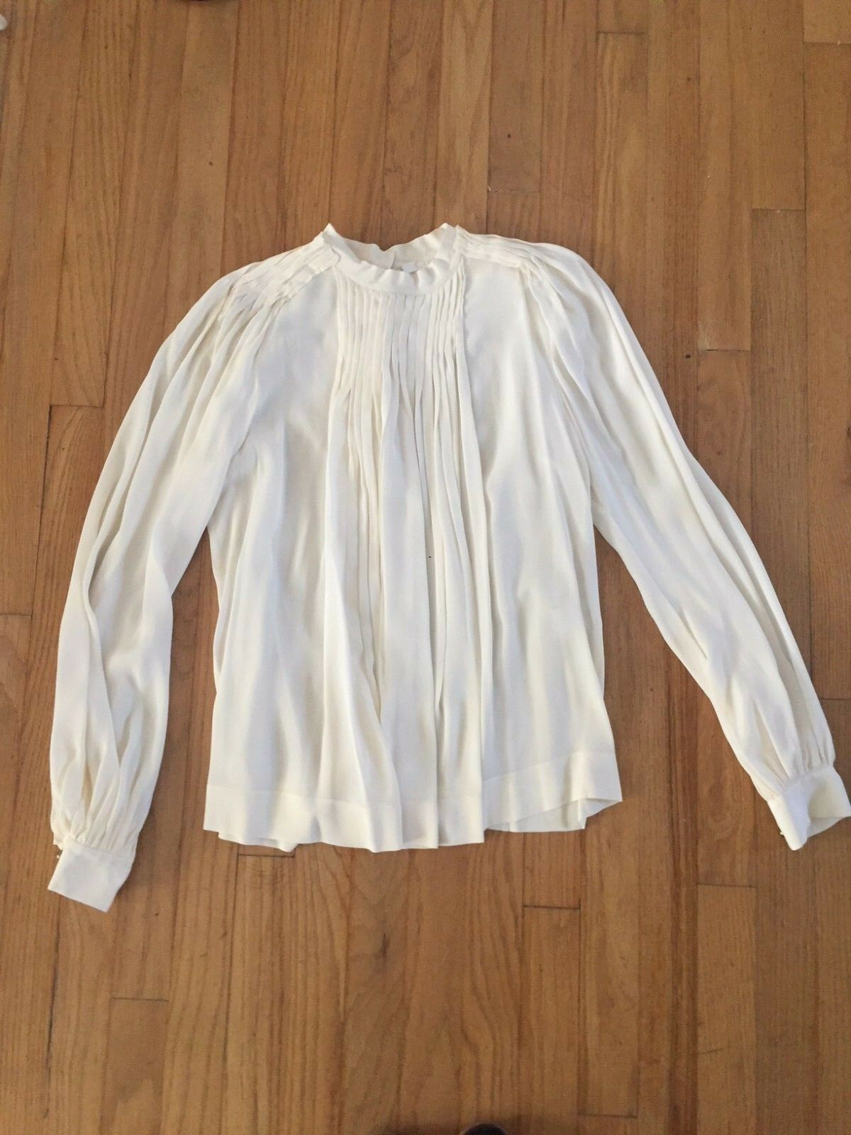 CHLOE CREAM SILK PLEATED BLOUSE WITH BRONZE METAL MILITARY BUTTONS SZ FR 40