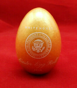 Details About 2018 White House Easter Egg Roll Wood Gold Egg W Auto Signatures Of The Trumps