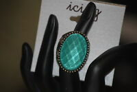 Icing Antique Gold Tone, Turquoise Color Faceted Stretch Statement Ring, 1 Size