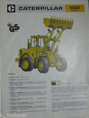 Baugewerbe Bagger Mobilbagger Prospekt/heft/broschüre/info Caterpillar Radlader 920 SorgfäLtige FäRbeprozesse