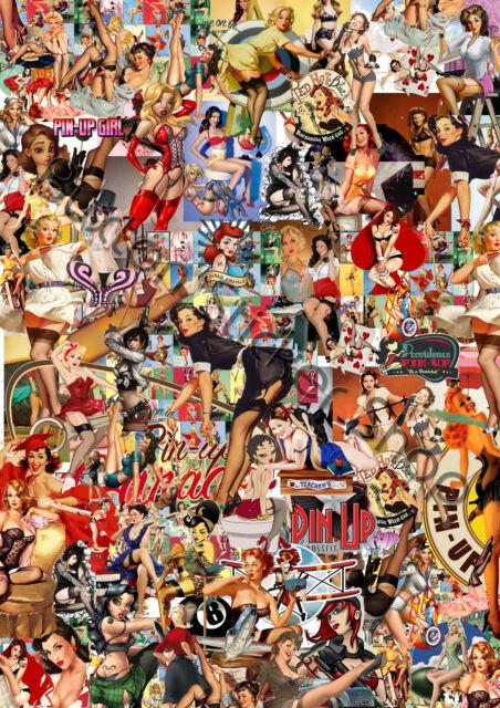 3 x A4 Sticker Bomb Sheet Pin up girls  Euro Drift  honda Dub Vw dub