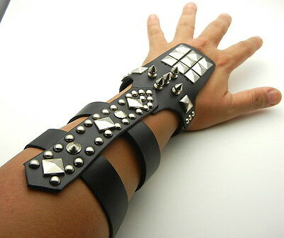"""Tew161- 8-1/2"""" PU Leather Cuff Bracer Arm Armor with metal Spikes Square Studs"""