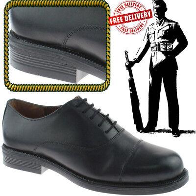 DemüTigen Mens Oxford Cadet Parade Capped Leather Shoes Army Uniform Boots Black Uk Sizes Klar Und Unverwechselbar