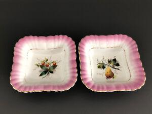 2-Antique-Victorian-pink-amp-white-porcelain-square-serving-bowls-1880s-1890s