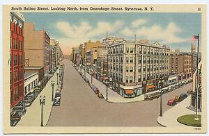 New-York-SYRACUSE-Salina-St-Looking-North-from-Onondaga-Street-LINEN-Roadside