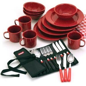 Charmant Image Is Loading Coleman 25 Piece Enamelware Dining Set With Stainless