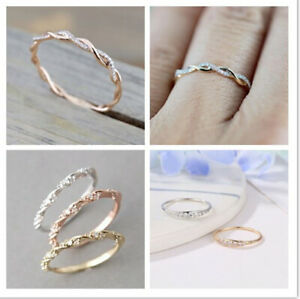 Size-5-10-Womens-Rose-Gold-Inlaid-Crystal-Twist-Rings-Wedding-Party-Jewelry-Gift