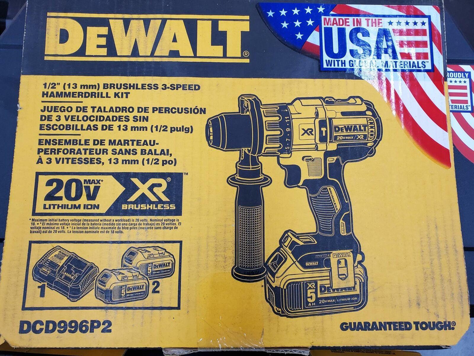Dewalt DCD996P2 - 20V Max XR LITHIUM ION Brushless3-Speed Hammer Drill Kit. Buy it now for 249.99